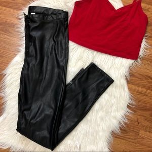 h&m high waisted leather pants